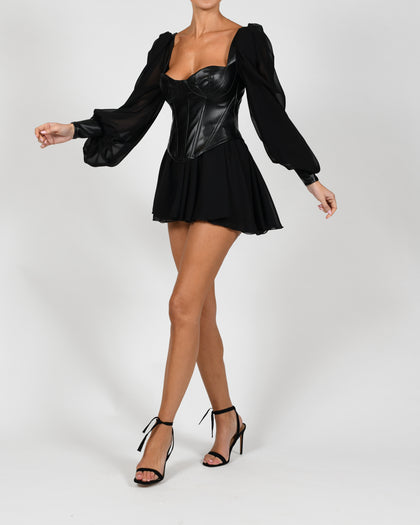 Mya Dress in Black Leather