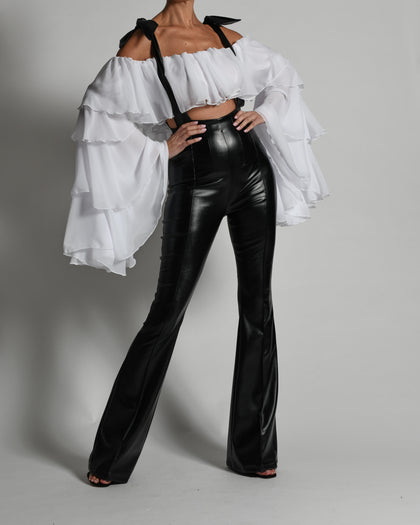 Jade Flared Leather Trousers