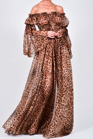 Ava Maxi Dress in Leopard Silk