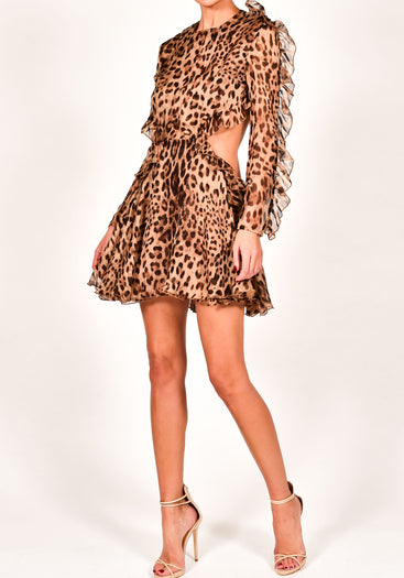 Kiah Dress in Leopard Silk