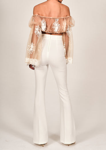 Ava Roma Crop Top and White Flares
