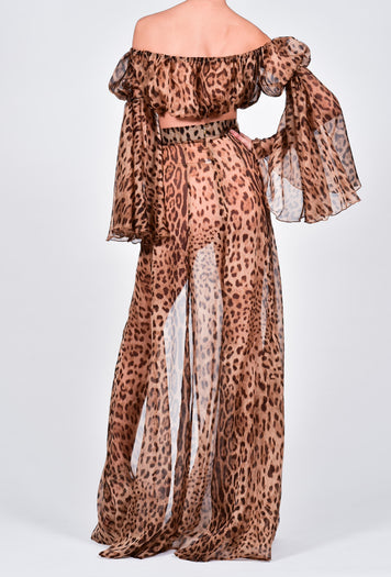 Ava Maxi Set in Leopard Silk