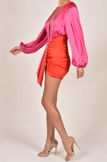 Beaudelle Skirt in Red and Pink Satin
