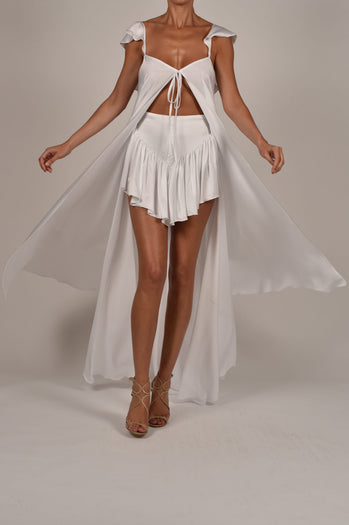 Krista Kaftan and Shorts in White