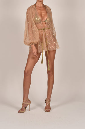 Belle Mini Kaftan in Gold Spot
