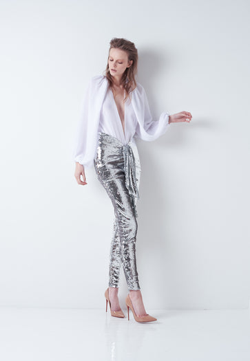 Beaudelle Top and Trousers in Silver Sequin
