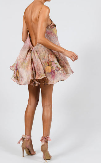 Alexi Swing Dress in Rose and Leopard Silk