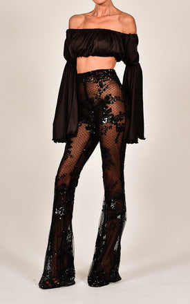 BLACK SEQUIN BURLESQUE FLARES