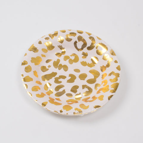 Small Pale Pink Cheetah Paper Plates (8)