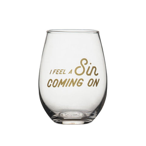 I Feel A Sin Coming On Stemless Wineglass
