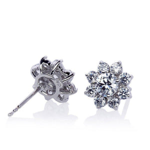 Round Flower Clusters in White Gold