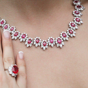 Ruby Flower Cluster Grand Necklace