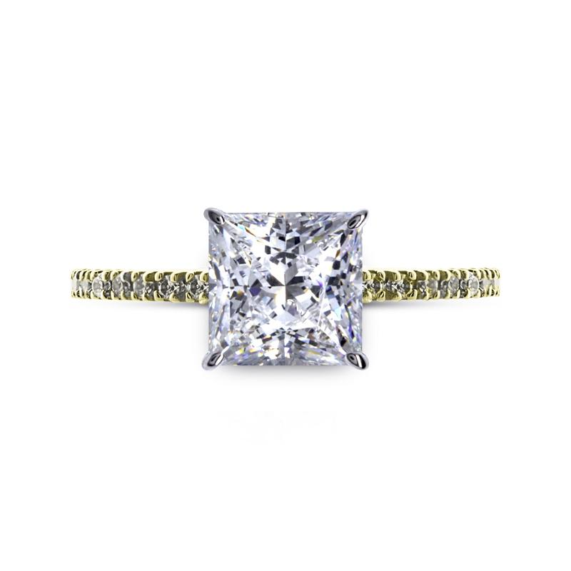 Solitaire Princess Microset Yellow Gold