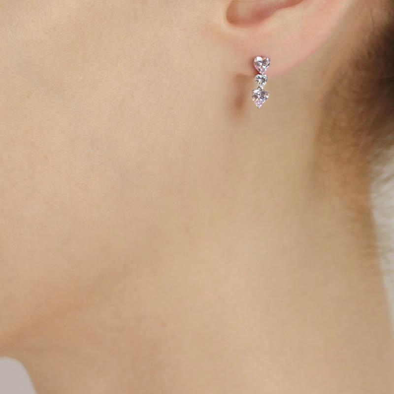 Tri Heart Drop Earrings in Fancy Pink