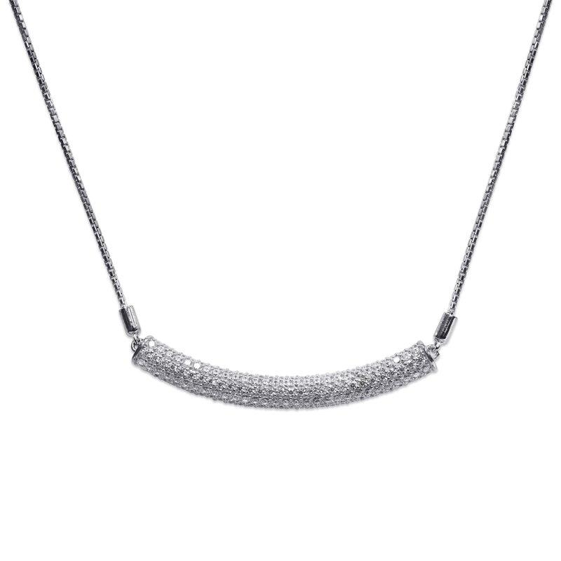 Sterling Silver Necklace - Pave set bar necklace with slider fastening