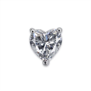 Sterling Silver Stud Earring - Single Heart Shape Stud