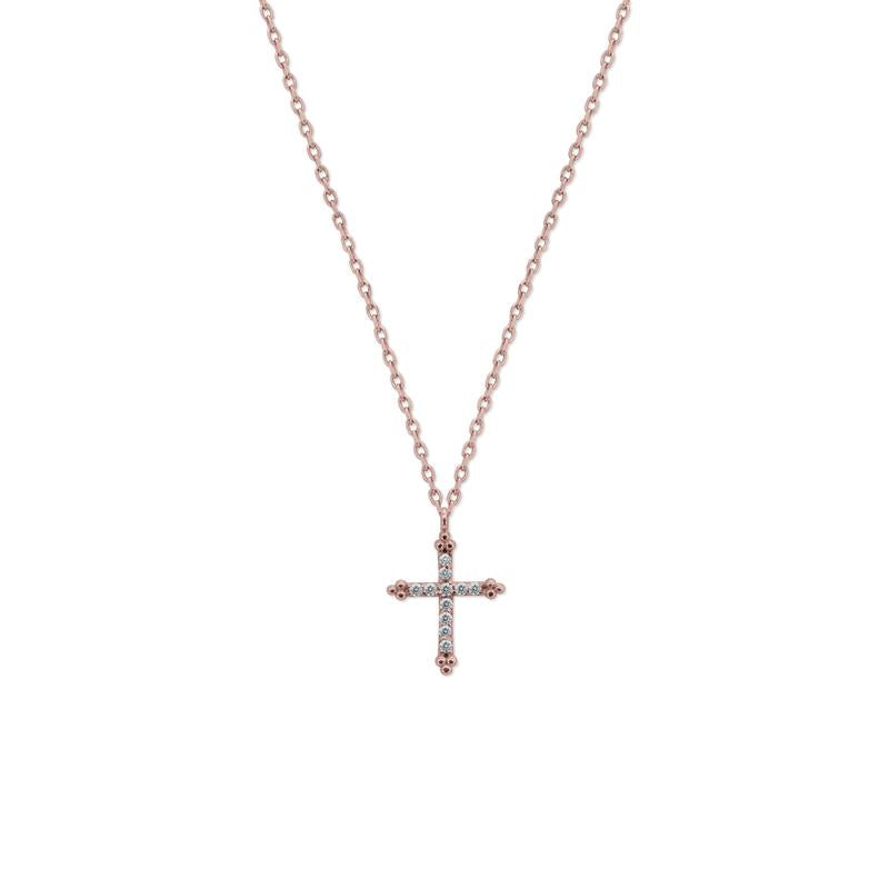 9K Rose Gold Necklace - Cross Design