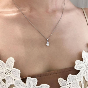 Pear Solitaire Pendant Necklace