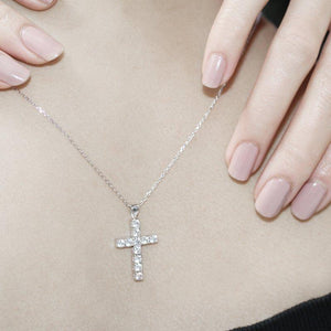 9K White Gold Cross Pendant