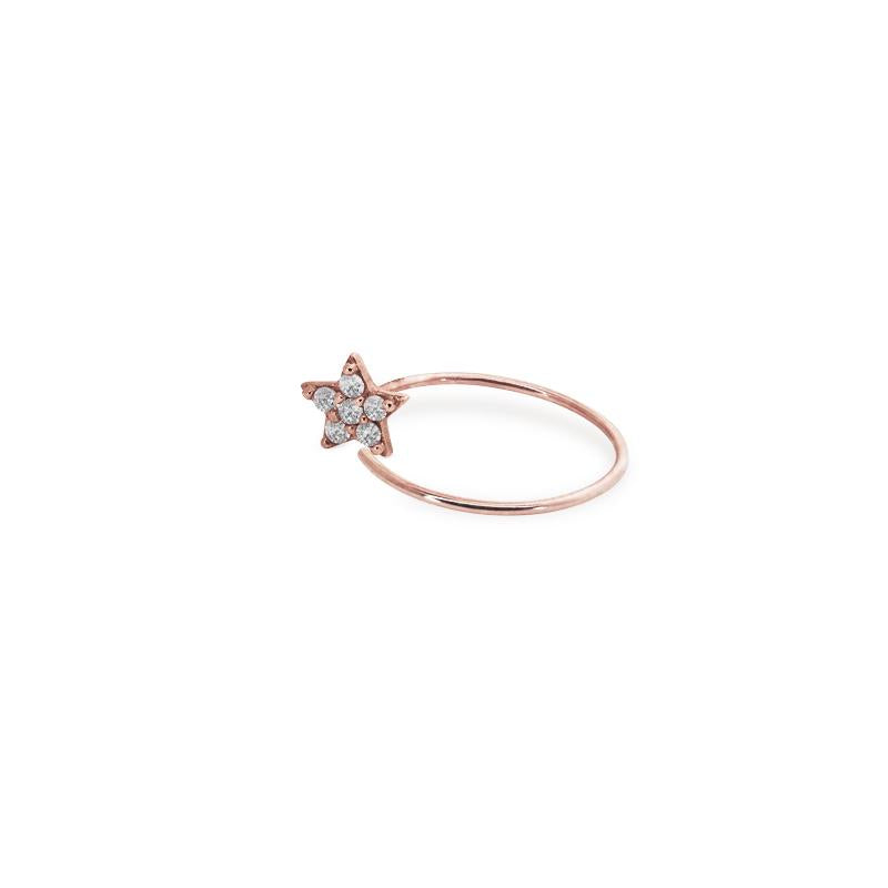 9K Rose Gold Hoop - Star design
