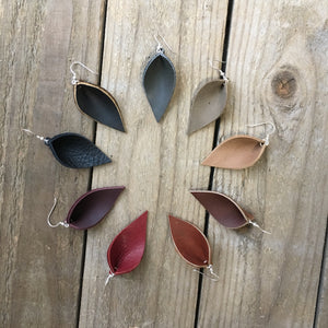 Leaf drop leather earrings -Small