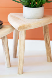 Hand Carved Wood Triangle Top Stool