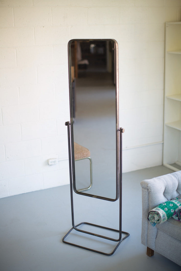 tall metal framed floor mirror with stand