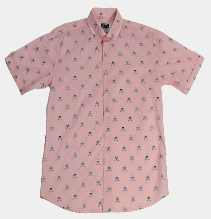 Pink Surf or Die Collared Shirt
