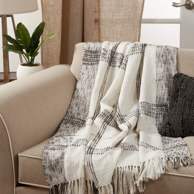 White Plaid Throw