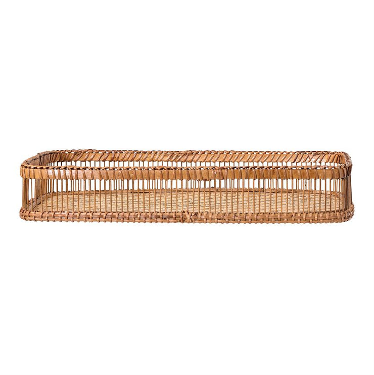 Decorative Natural Bamboo Tray w/ Handles