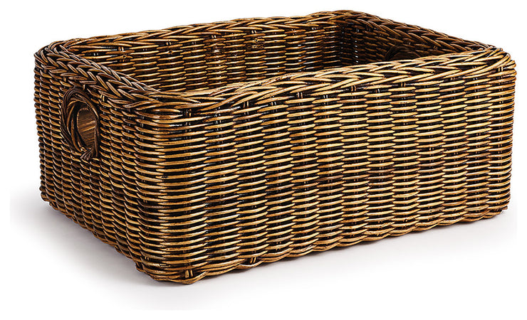 BURMA DOUBLE WOVEN RATTAN RECTANGULAR BASKET