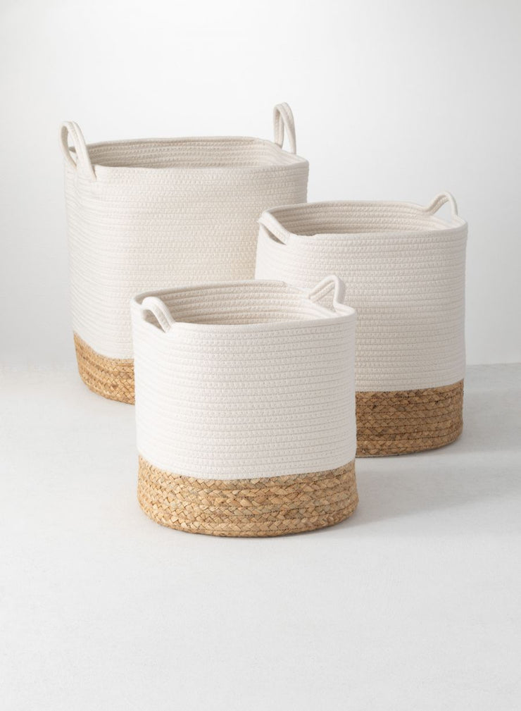 White Basket w/ Natural Bottom