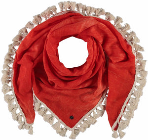 Fraas Cold Dye Tasseled Solid Scarf 609006