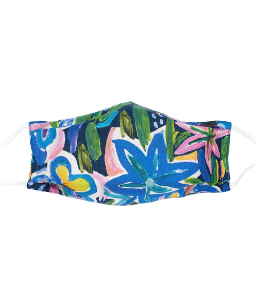 Echo Expressive Floral Silk Cooling Mask - Navy