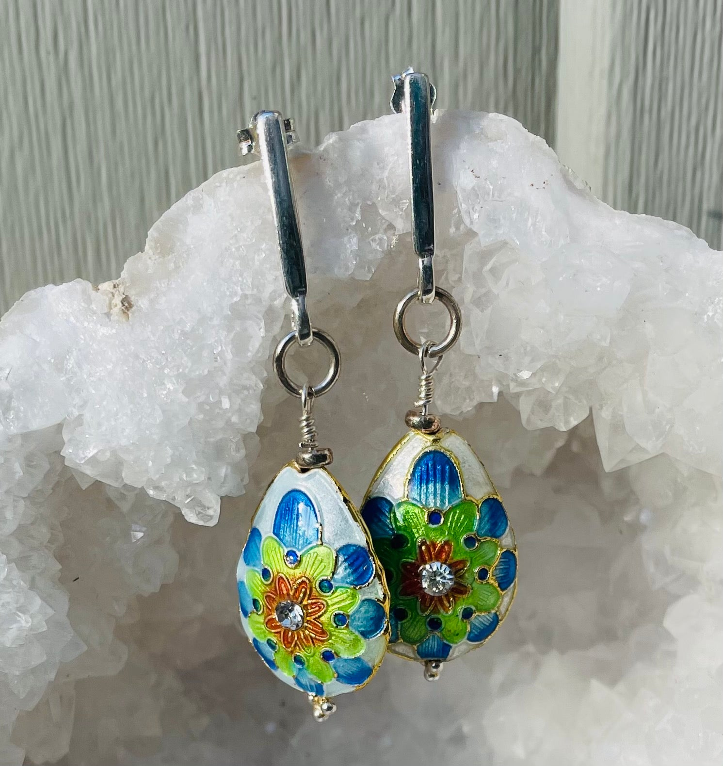 Green Eyed Kitty Vintage Cloisonné Earrings - Pear