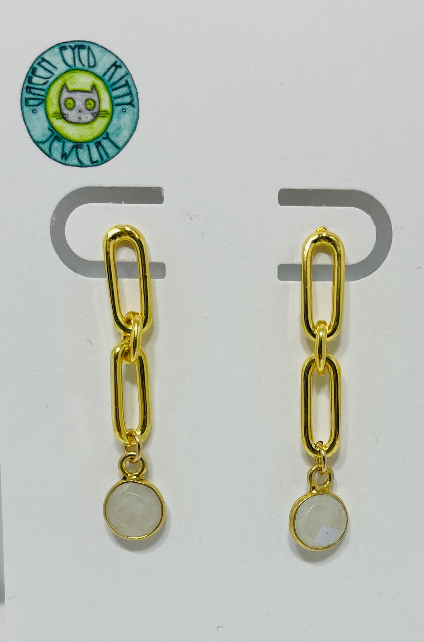 Green Eyed Kitty Gold Link Earrings