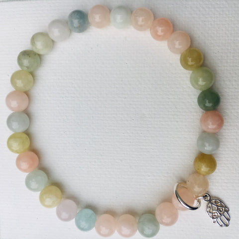 Green Eyed Kitty Chakra Bracelet - Morganite
