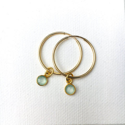 Green Eyed Kitty Deco Gold Hoops - Chalcedony