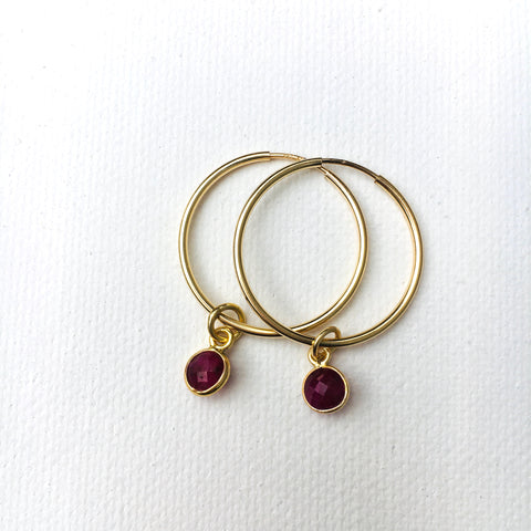 Green Eyed Kitty Deco Gold Hoops - Ruby