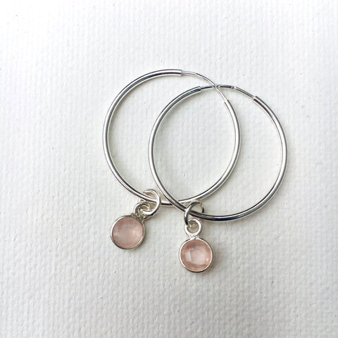 Green Eyed Kitty Deco Silver Hoops - Rose Quartz