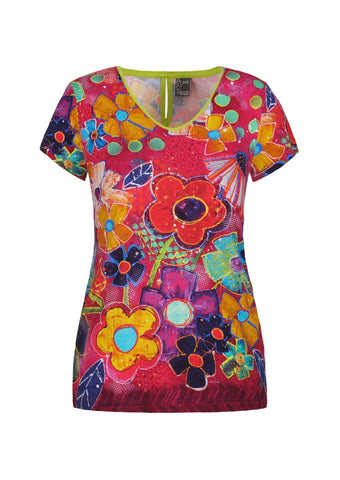 Dolcezza Vibrant V-Neck Top 21690