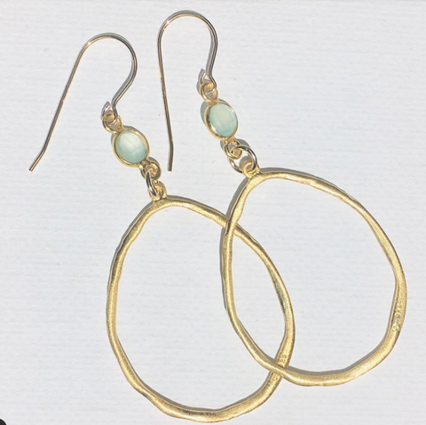 Green Eyed Kitty Pear Hoop Earrings