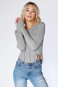 Bobi Long Sleeve Crop Top 549-24302