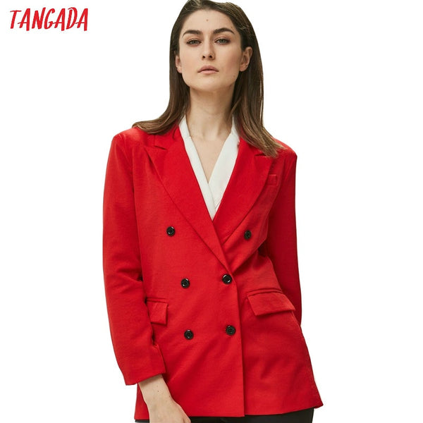 2019 Double Breasted Pocket Women Blazer Work Office Business Suit Outwear