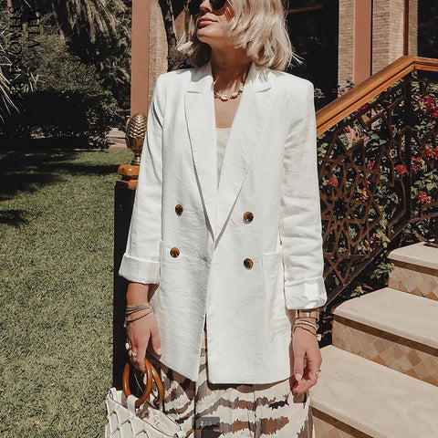 Double Breasted White Black Blazer Female Long Sleeve - buydressonline