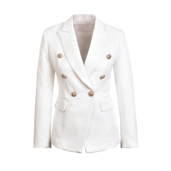 Metal Gold Button Jacket White Black Khaki Colors Female Blazer
