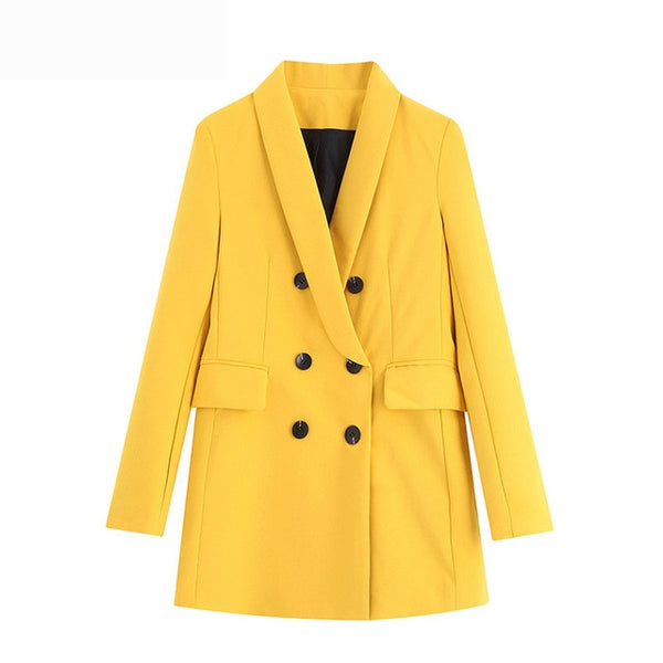 Vintage Stylish Double Breasted Blazers Coat Women