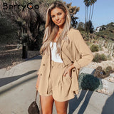 Elegant two-piece women short blazer suits and shorts set Chic office ladies suits