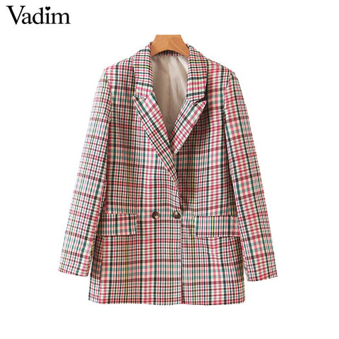 Women chic plaid blazer pockets double breasted long sleeve office wear coat - buydressonline