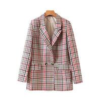 Women chic plaid blazer pockets double breasted long sleeve office wear coat